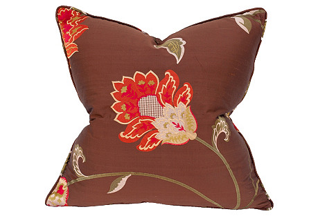 Majestic 22x22 Embroidered Pillow, Brown