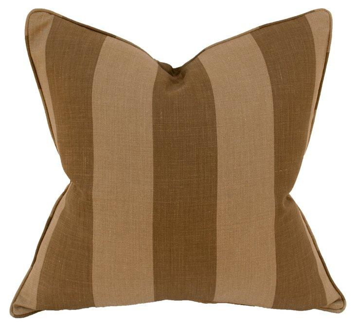 Belgium 22x22 Linen Pillow, Brown/Taupe