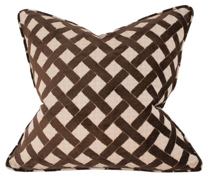 Trellis 22x22 Pillow, Brown