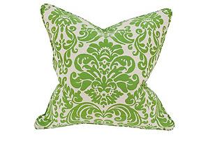 Damask 22x22 Linen-Blend Pillow, Green