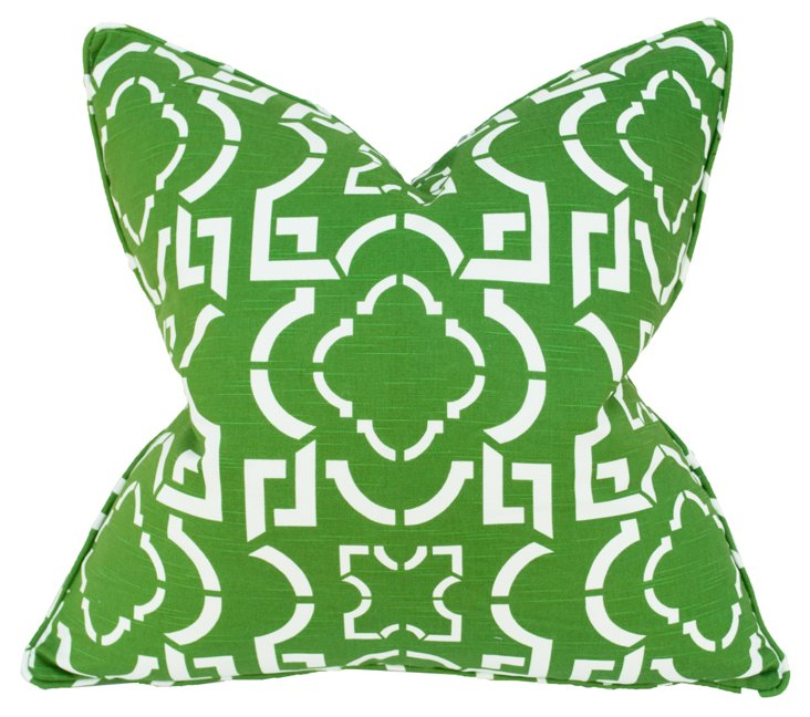 Abstract 22x22 Cotton Pillow, Green