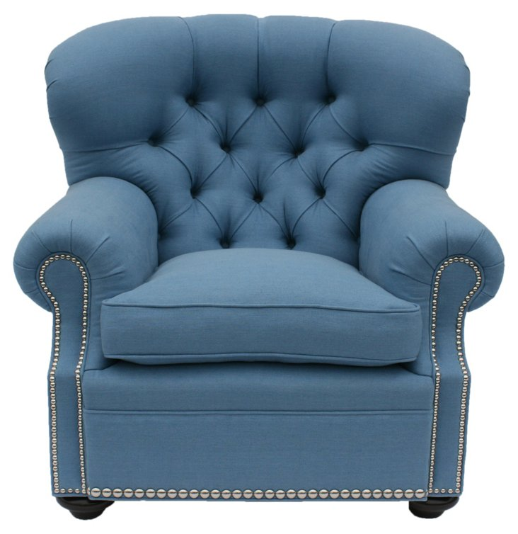 Regency Tufted Linen Chair, Chambray