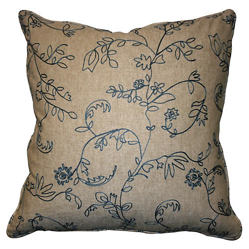 Barring 22x22 Embroidered Pillow, Taupe