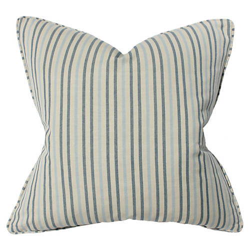 Stripe 22x22 Cotton Pillow, Blue