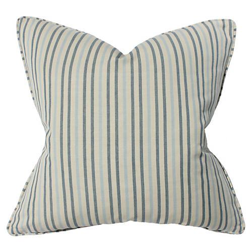Stripe 22x22 Cotton Pillow, Blue