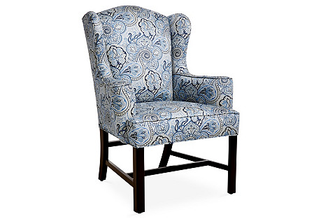 Hudson Wingback Chair, Blue Paisley