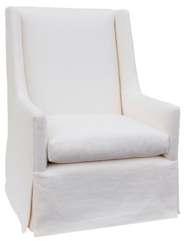 Easton Linen Wing Chair, White