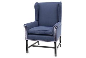 Kingston Host Linen Wingback Chair, Navy