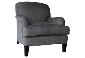 Somerset Linen Club Chair, Charcoal