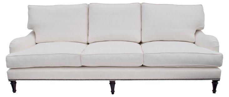 """Somerset 96"""" Linen Sofa, Oyster"""
