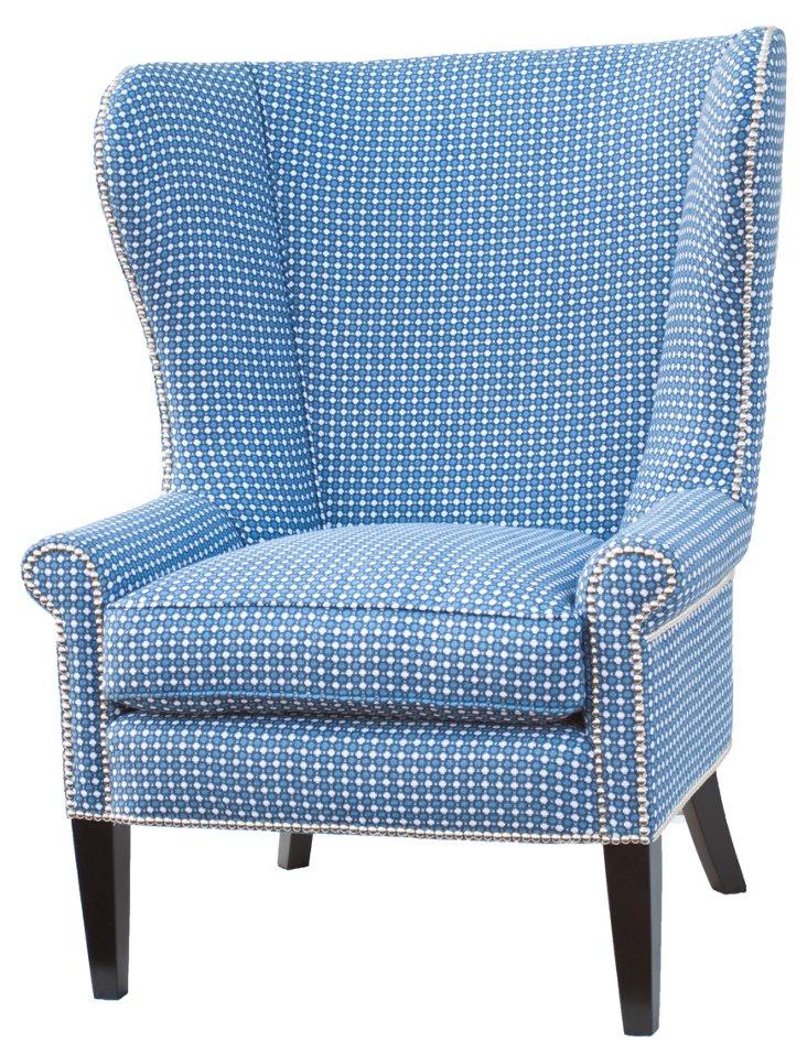 Baron Linen Wingback Chair, Light Blue