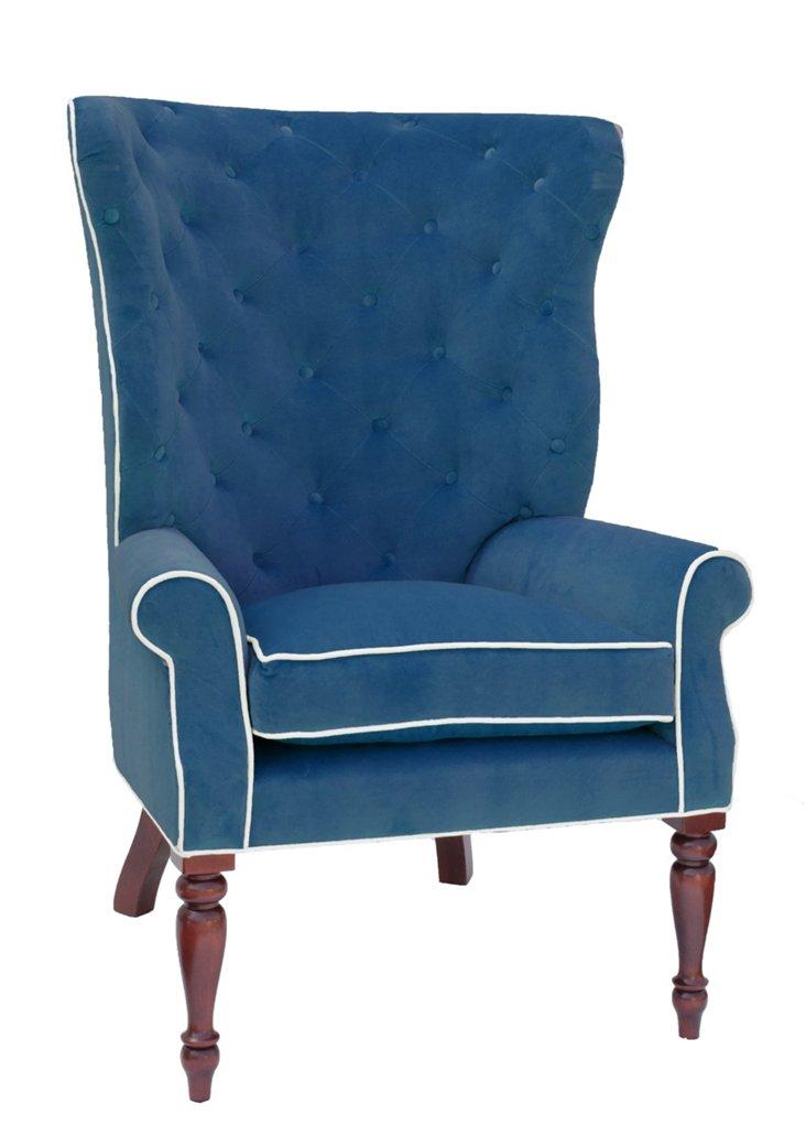 Davis Velvet Wingback Chair, Royal Blue