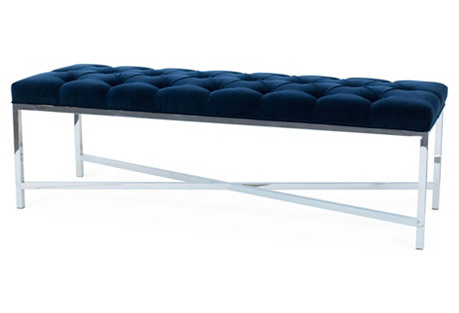 Jameson Tufted Bench, Navy