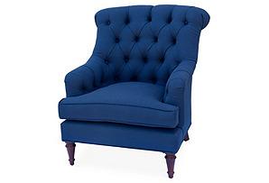 Tiffany Tufted Club Chair, Navy