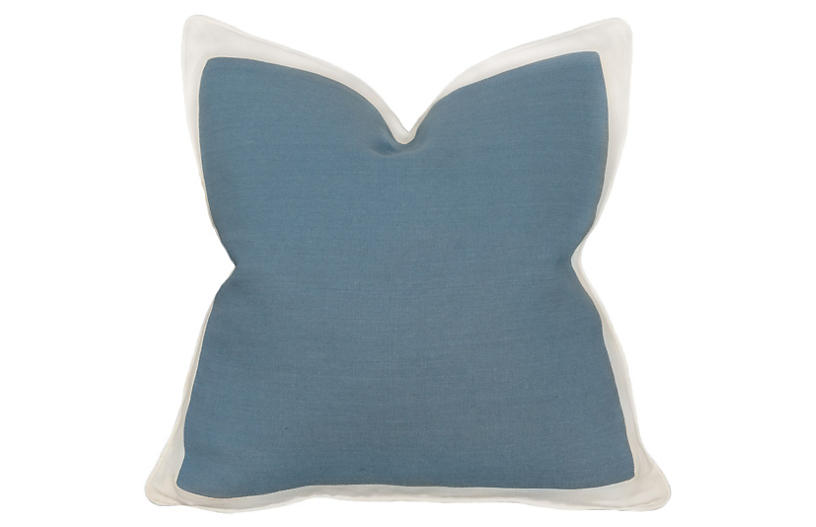 Charleston 22x22 Pillow, Chambray Blue