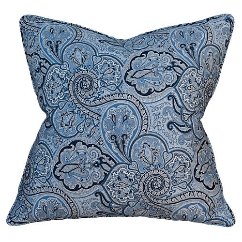 Porcelain Paisley 22x22 Pillow, Blue
