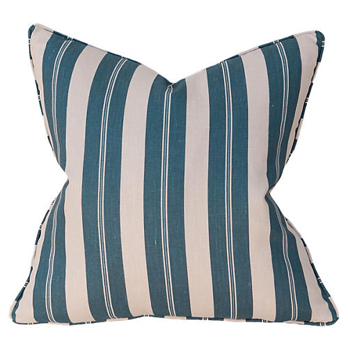 Joel Stripe 22x22 Pillow, Blue