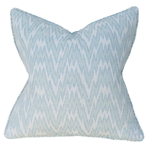 Ikat Ice 22x22 Pillow, Blue