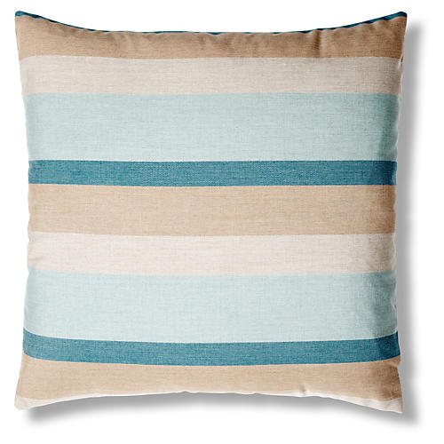 Gateway 22x22 Outdoor Pillow, Blue/Beige