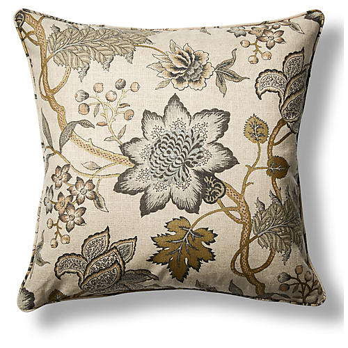 Jacobean Flair 22x22 Throw Pillow, Gold