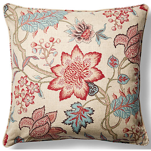 Jacobean Flair 22x22 Throw Pillow, Red