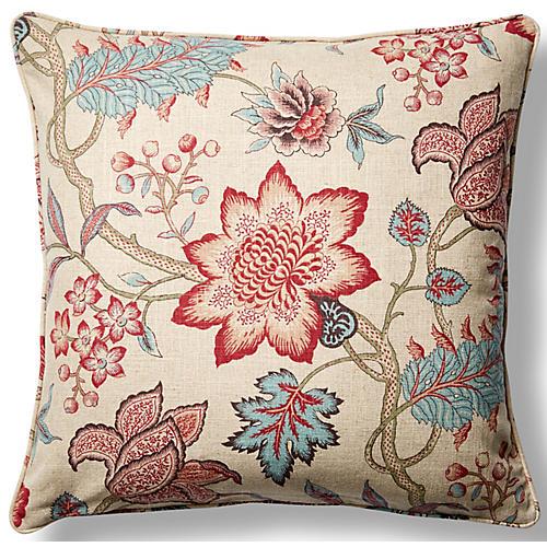 Jacobean Flair 22x22 Throw Pillow, Red