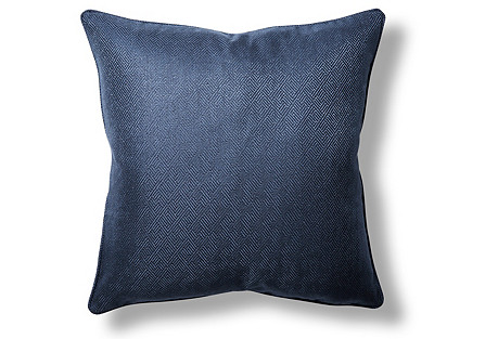 Basketry 22x22 Throw Pillow, Navy
