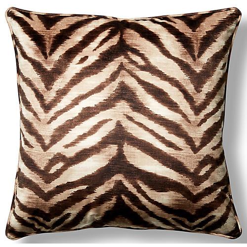 Tigress Sahara 22x22 Throw Pillow, Tan