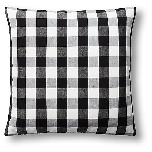 Lyme Checkered 22x22 Pillow, Black/White