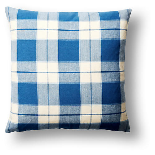 Kingston Plaid 22x22 Pillow, Blue/White