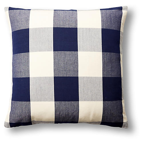 Checkered 22x22 Pillow, Navy/White