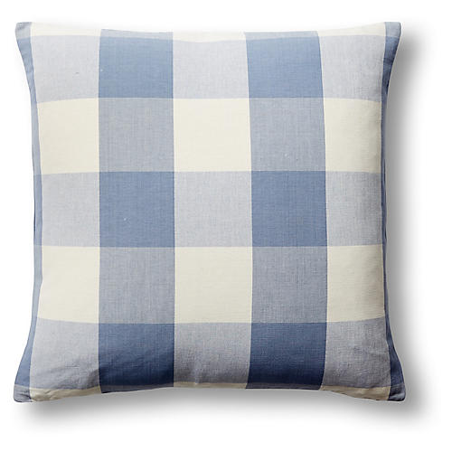 Checkered 22x22 Pillow, Blue/White