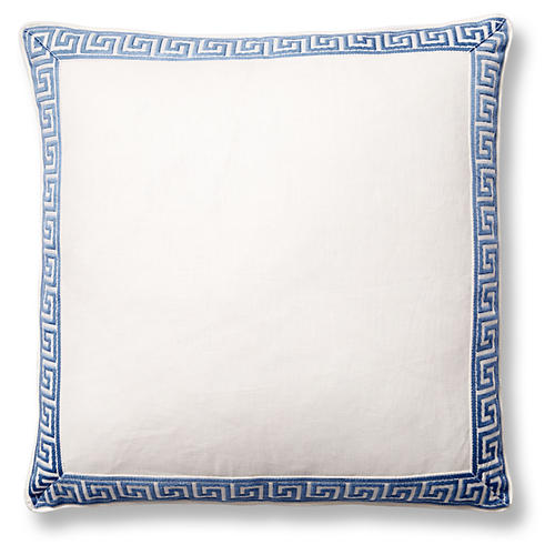 Athena 22x22 Pillow, Oyster/Blue Linen