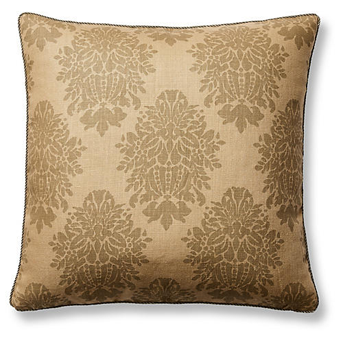 Sage Damask 22x22 Pillow, Sage/Tan