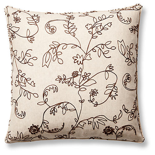 Barrington 22x22 Pillow, Brown/Oatmeal
