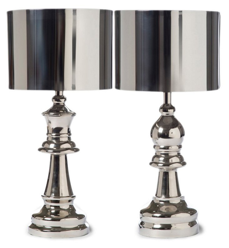 Chess Pieces Table Lamp Set, Silver