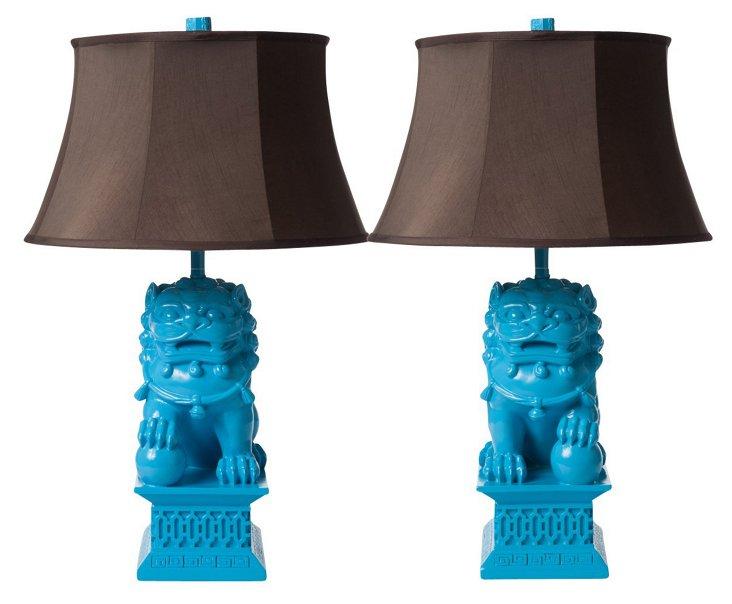 Large Foo Dog Lamp Set, Caribbean Blue