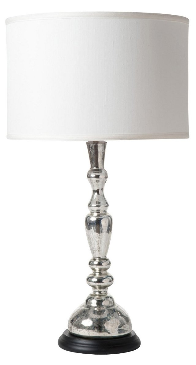 Antiqued Silver Glass Candlestick Lamp