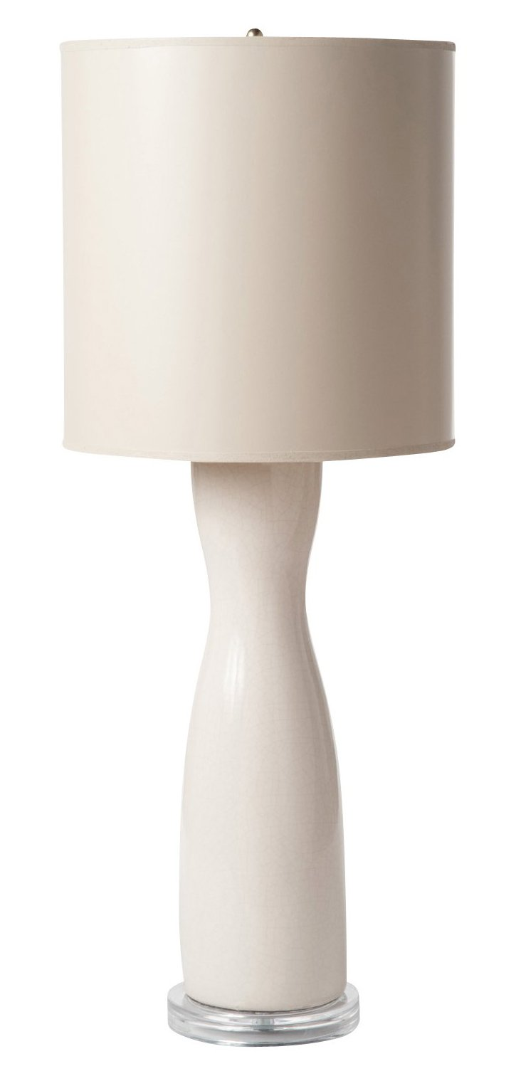 Hourglass Table Lamp, Cream Crackle
