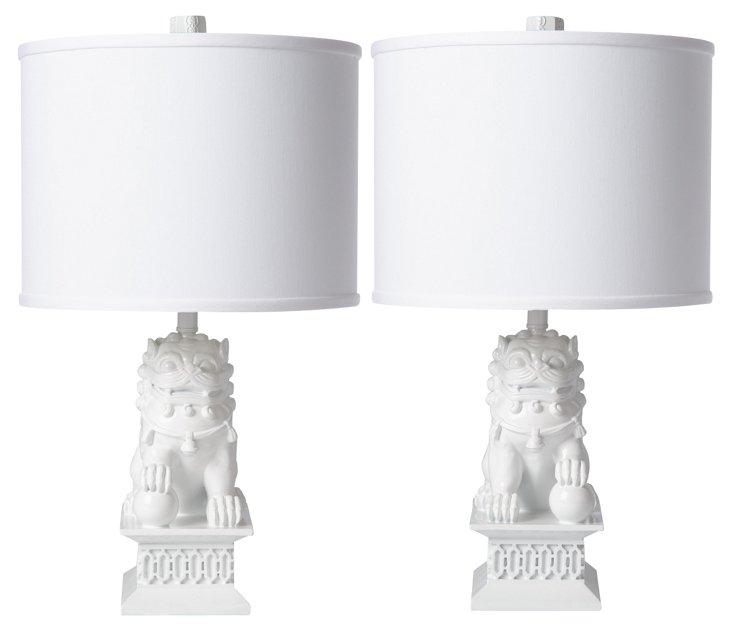 Mini Foo Dog Table Lamp Set, White