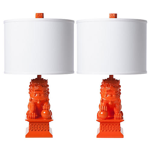 S/2 Mini Foo Dog Table Lamps, Orange