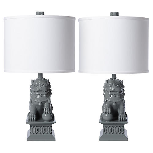 S/2 Mini Foo Dog Table Lamps, Gray