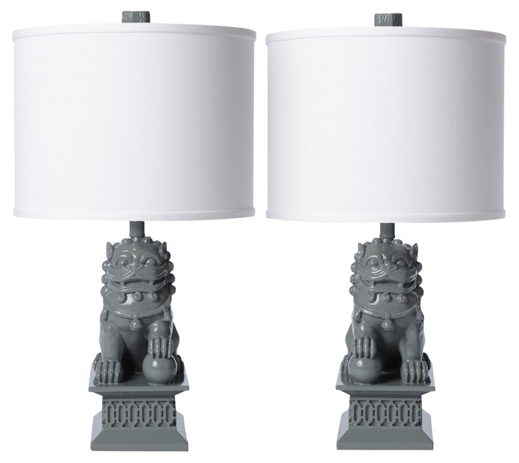 Mini Foo Dog Table Lamp Set, Gray