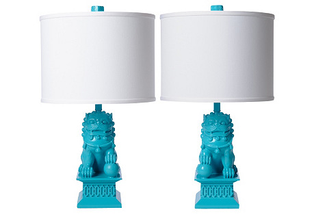 Mini Foo Dog Table Lamp Set, Seaside