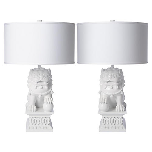 S/2 Large Foo Dog Table Lamps, White
