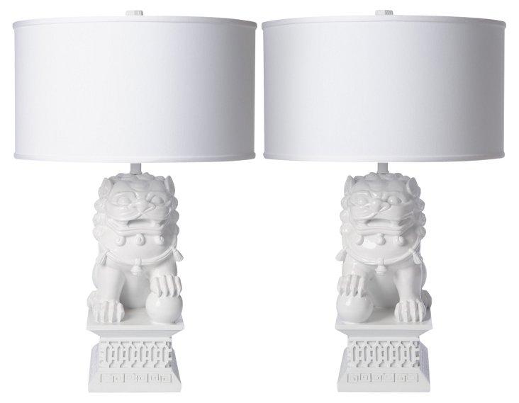 Large Foo Dog Table Lamp Set, White