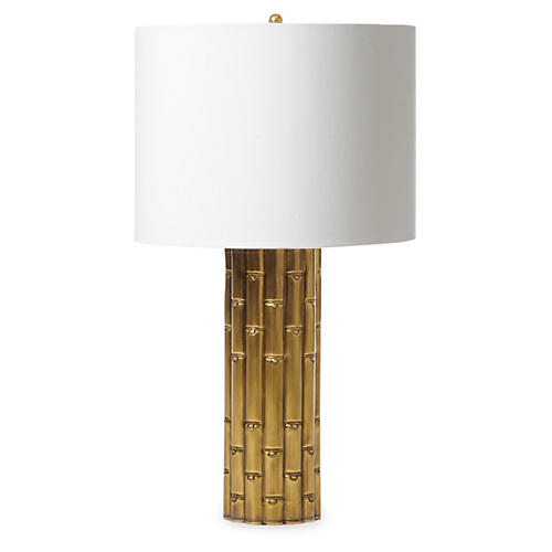 Bamboo Table Lamp, Antiqued Brass
