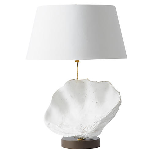 Clam Shell Table Lamp, White