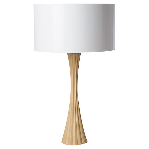 Fluted Table Lamp, Camel