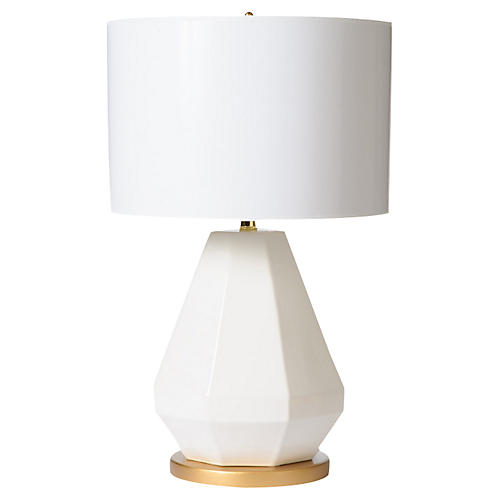 Jewel-Cut Table Lamp, White